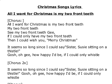 All I Want For Christmas Is My Two Front Teeth Lyrics.November 2016 Perranporth School Learning Platform Page 2